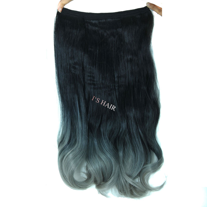 Big Discount !Hot 20inch 50cm One Piece Full Head 100g Wavy Flip On Hair Extensions Synthetic Hair Extension  Wholesale
