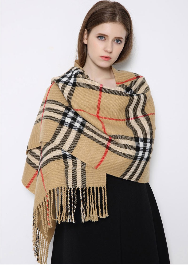 LEECHEE Fashion Acrylic Material Plaid Pattern Reversible Scarf for Women Used in Winter and Spring with Pockets on Both Sides