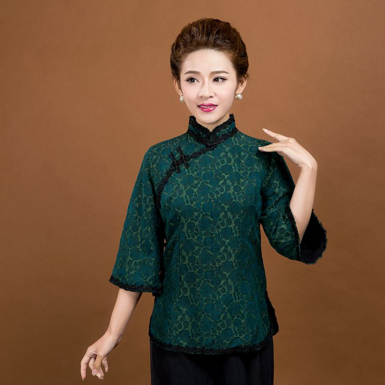 High Quality Green Chinese Women's Silk Cotton Shirt Lady Elegant Vintage Flower Lace Collar Blouse Size M L XL XXL XXXL 6020(China (Mainland))