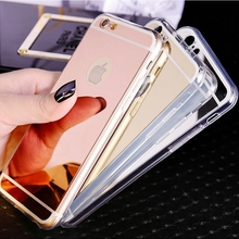 For Iphone 5S Soft Case Deluxe Fashion Bling Mirror Back Cover For Iphone 5 5S SE Top Quality TPU Clear Edge Frame Gold Silver
