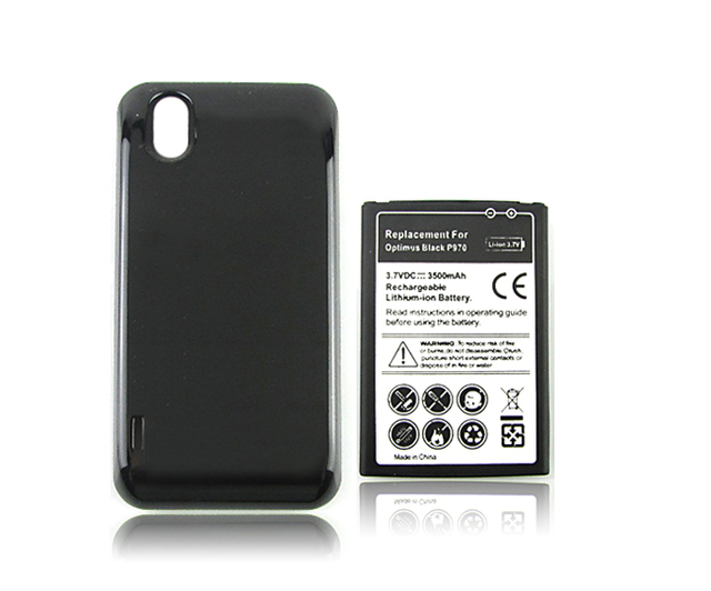 Extended 3500mah Commercial Rechargeable Battery + Back Case For LG Optimus Black P970