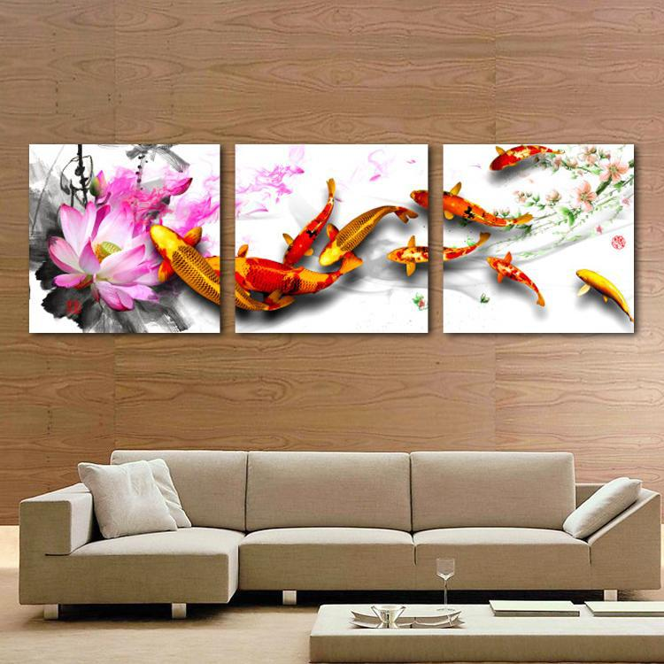 Hot Sell Modern Home Decorative Art Picture Paint on Canvas Prints Lotus blooming pink enchanting charming lotus, swimming fish(China (Mainland))