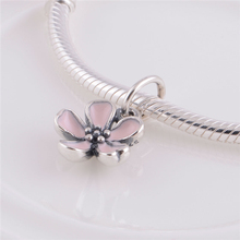 925 Sterling Silver Jewelry Wholesale Daisy Charm Pendant With Pink Enamel Infinity Love Bracelets Bangles Lw260