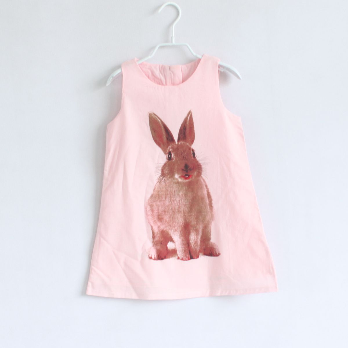 2015 Summer style animal puppy/rabbit A-line baby girls dress kids clothes children clothing(China (Mainland))