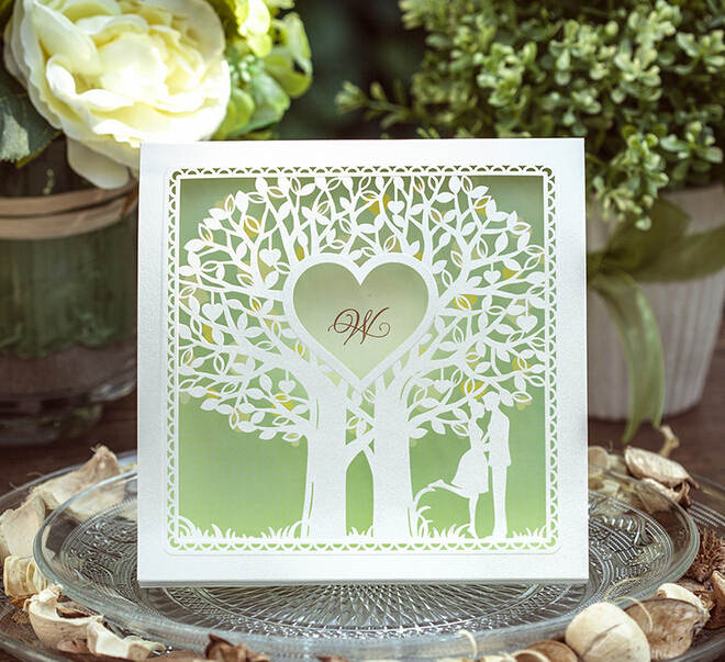 Romantic Inviting Card Elegant Laser Cut 50set Party Event Supplies White Tree Paper Green Decoration Wedding Invitation(China (Mainland))