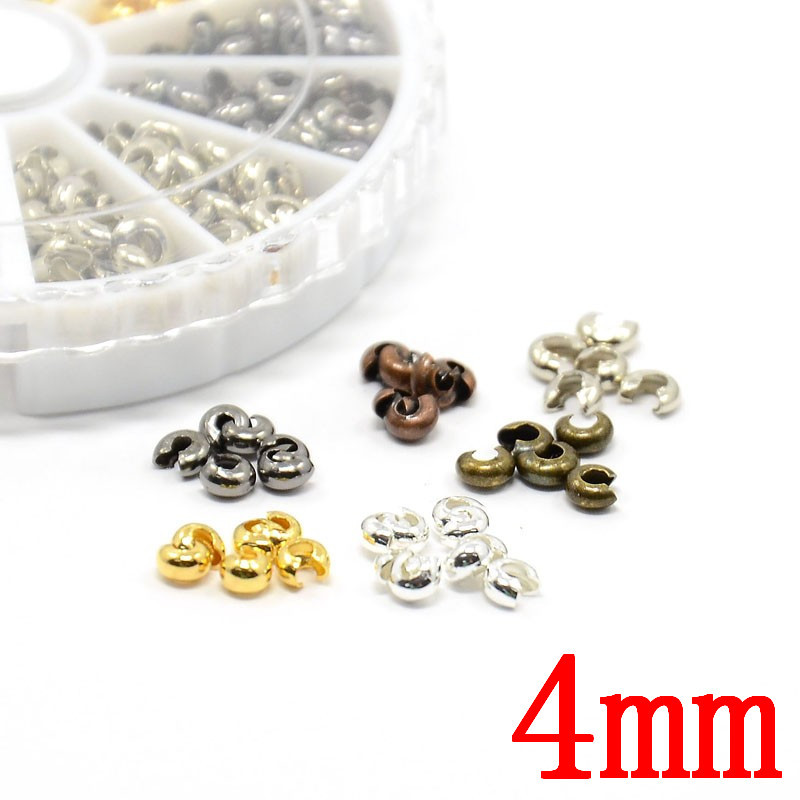 590pcs/box Brass Crimp Beads Covers 4mm metal Spacer beads diy jewelry making findings supplies accessories parts Pandahall(China (Mainland))