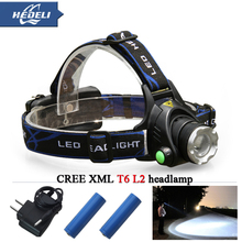 cree headlight led headlamp xm l t6 xm-l2 waterproof zoom head lamp 18650 rechargeable battery flashlight head torch Lights(China (Mainland))