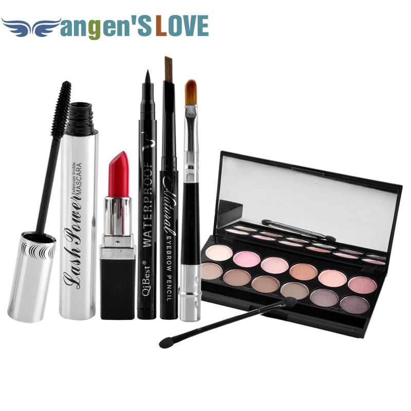 Qibest Makeup Set Mascara + Eyeliner + Eyeshadow + Eyebrow Pencil + Lipstick(China (Mainland))