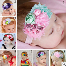 The new children's baby hair band hair ornaments roses sequined chiffon bow elastic headband girls hair accessory free shipping