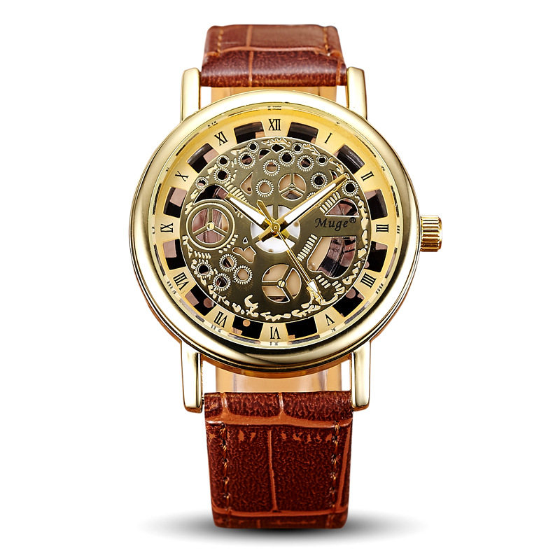 Fashion Business Office Men Hollow Watches Simulation Mechanical Glass Mirror Leather Watchband Casual Men Watches