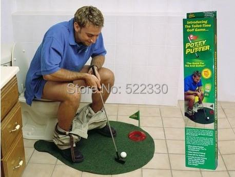 Free Shipping 1Set Potty Putter Toilet Golf Game Mini Golf Set Toilet Golf Putting Green(China (Mainland))