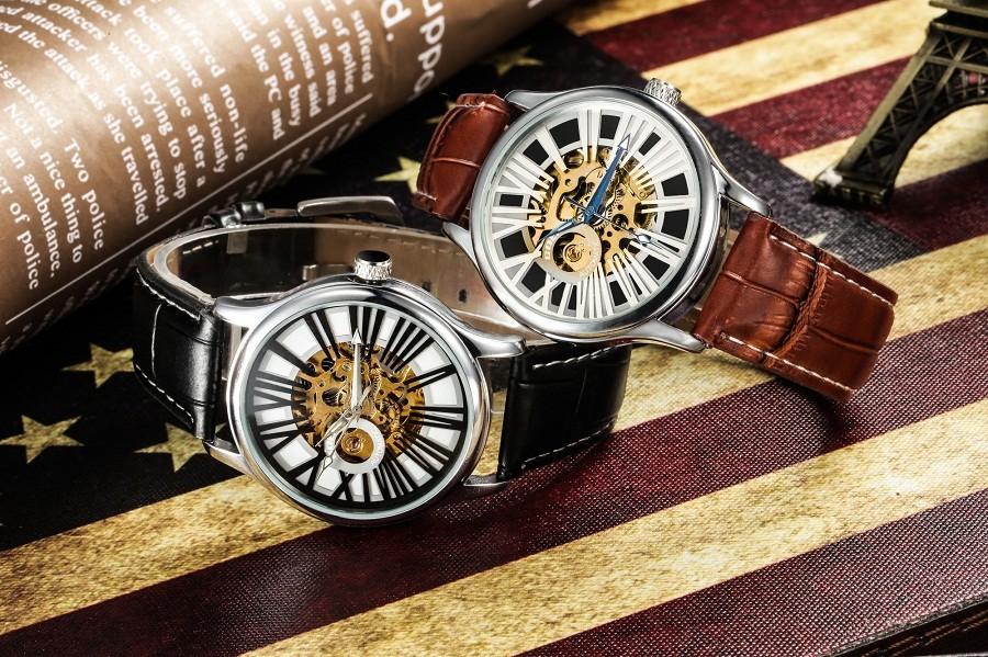 GOER марка man часы Механическая автоматическая мужчины наручные часы Водонепроницаемый Световой Скелет Кожа Отдых спорт