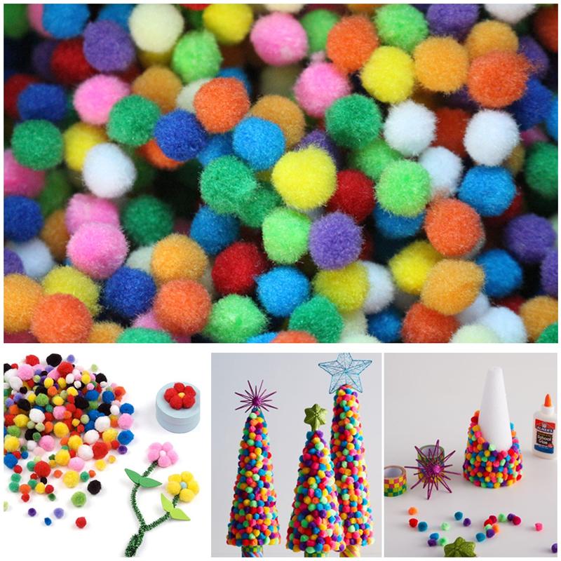 100Pcs/Lot 10mm Multicolor Pompon DIY Plush Balls Home Decorative Flower Crafts Toy Head Wreaths Garment Accessories(China (Mainland))