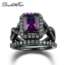 Purple Crystal Fashion Ring Set Black Gold Plated Imitation Gemstone Engagement Jewelry Wedding Rings For Women DFR480(China (Mainland))