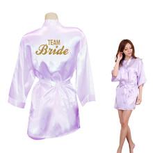 Bride Crown Team Bride Golden Glitter Print Kimono Robes Faux Silk Women Bachelorette Wedding Preparewear Free Shipping(China (Mainland))