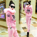 2016 winter new women suits big fur collar hoodies and long pants sets fashion letter printted