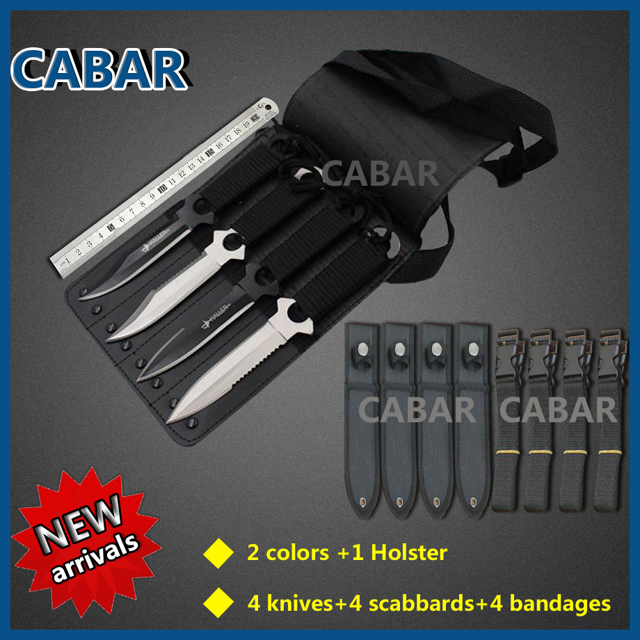 CABAR Brand 2015 New Arrival 4 Knives 4Scabbards 4Bandage Holster 96mm Blade Hunting Camping Diving Outdoor
