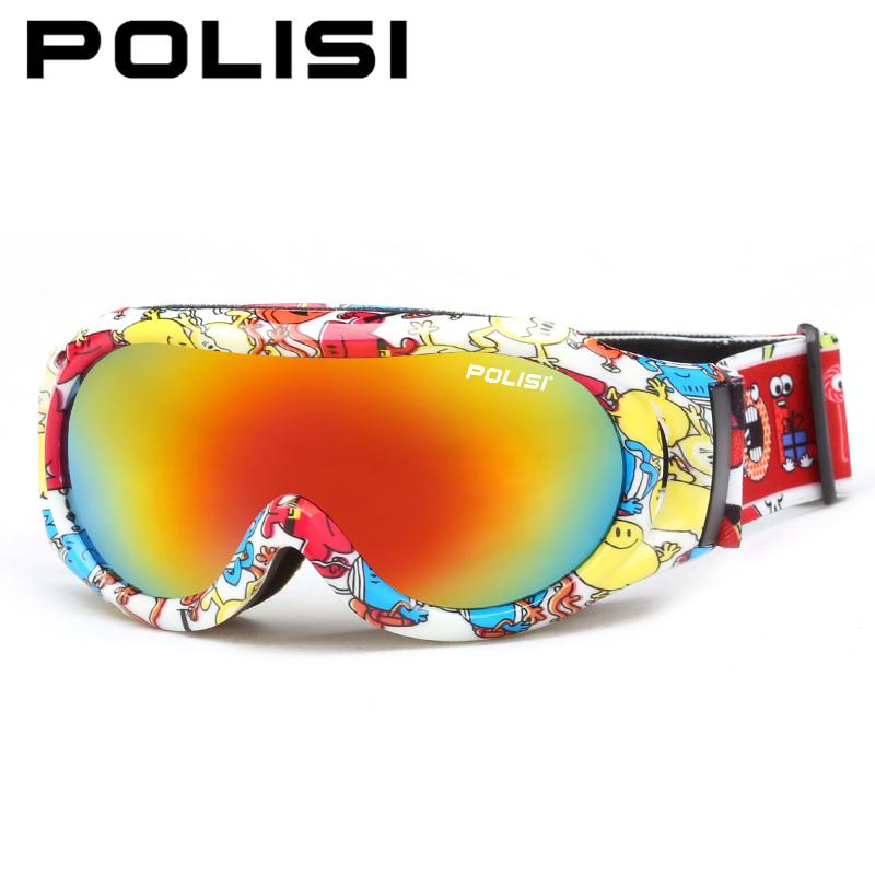 POLISI Children Ski Snowboard Goggles Kids Winter Anti-Fog Skiing Eyewear Boys Girls Double Layer Lens UV Protection Glasses