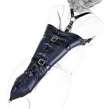 Сексуальная искусственная кожа через плечо рычаг биндер рабыня фетиш один Armbinder перчатки связывание сдержанность секс игрушка женщин BDSM взрослых связывание Kit