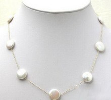 Genuine White Button Coin Pearl Silver Chain Clasp Necklace / Free Shipping(China (Mainland))