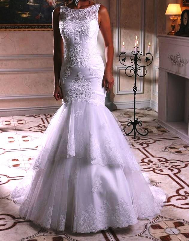 3 Tiered Lace Wedding Dress : Aliexpress buy tiered lace mermaid wedding dresses