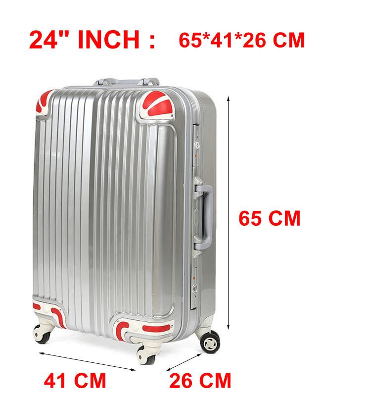 Fashion 24 Inch Aluminum Frame PC Travel Suitcase Large Capacity Luggage Upgrade Travel Luggage Rolling Luggage Promotion(China (Mainland))