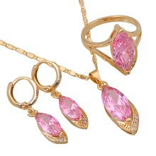 Wholesale & Retail Fashion Pink CZ Morganite stones 18K Gold Plated Pendants/Earring/ring Jewelry Set size 6 7 8 9 10 S056(China (Mainland))