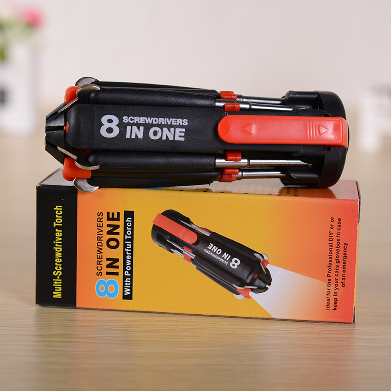 8 In 1 Multifunctional Screwdriver Tools Set Tool Kit With 6LED Flashlight Powerful 6 LED Light Torch(China (Mainland))