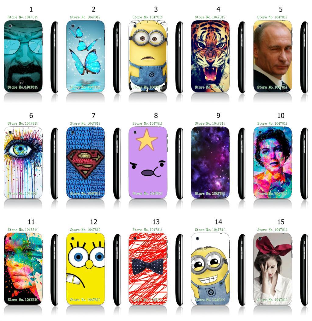 Hot 1pc Spongebob Superman logo minions Hybrid 15Designs Mobile Phone Case Protective White Hard Case For IPHONE 3 3GS Free Ship(China (Mainland))