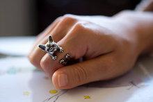 ONE PIECE Hot Sale Animal Handmade French bulldog ring Wrap Ring cute golden silver black Fashion