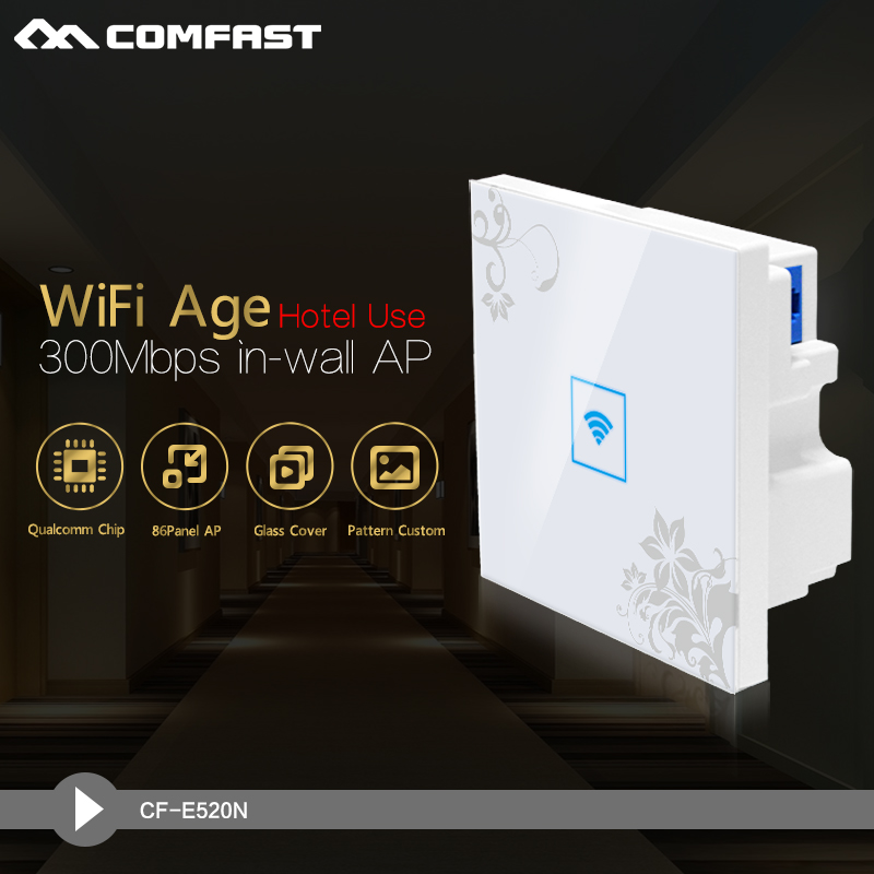 Clearance sale! Hot Sale! 300Mbps 2.4GHz In wall Wireless AP Router for Hotel Room Support POE IEEE 802.11b/g/n COMFAST CF-E520N(China (Mainland))
