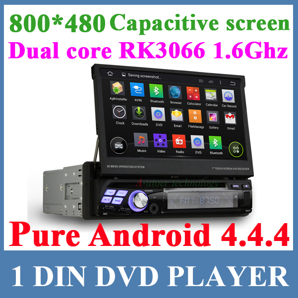 Pure android 4.4.4 1 DIN car DVD GPS Stereo Dual core RK3066 CPU with GPS WIFI 3G Bluetooth 800*480 Capacitive screen Car radio(China (Mainland))