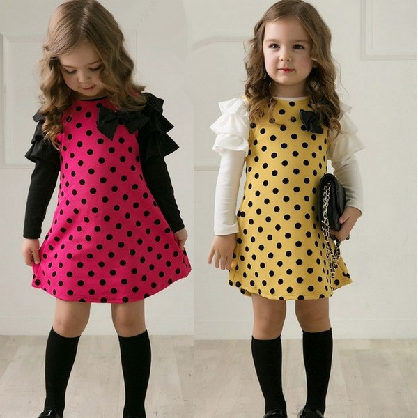 2014 autumn children's clothing girls polka dot dress long-sleeves baby kids one-piece clothes princess 2 colors - Shanghai Golden Childhood Limited store