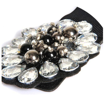 Fashion Strong Elastic ladies' Glass Crystal CCB Beads flower 6CM wide stretchy Women belts jewelry belts for Women Dress AF931(China (Mainland))