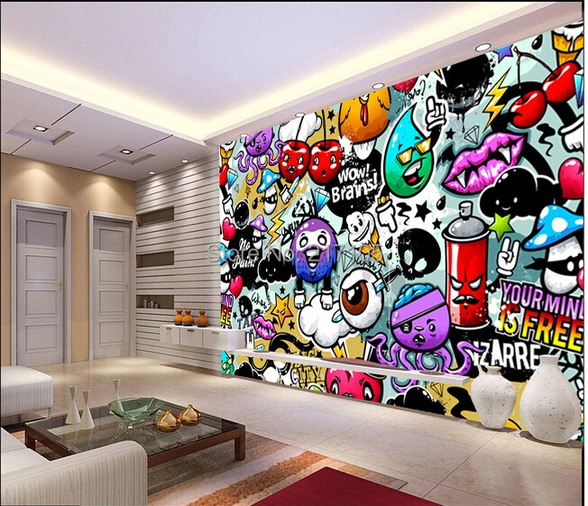 Buy custom baby wallpaper colorful graffiti 3d wallpaper for kids room children Painting graffiti on bedroom walls