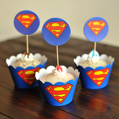 cupcake wrappers iron Man Superman cupcake wrapper picks decoration kids birthday party favors supplies 12