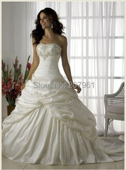 Stock Ivory&white taffeta with embroidered Strapless Wedding Dresses 2015 New with court train bridal gown size 6 8 10 12 14 16
