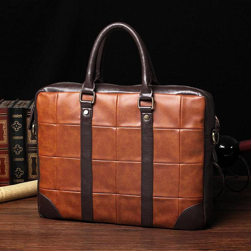 font b Plaid b font Men s Travel Bags Fashion Black Office Briefcase Men Business