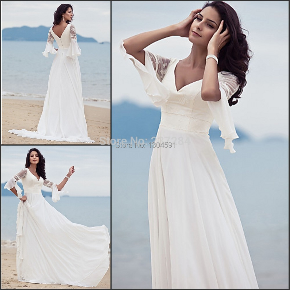 Vintage v neck chiffon boho style hippie beach wedding Hippie vintage wedding dresses