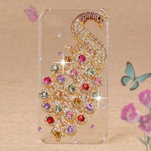 For iPhone4 Case Crystal Diamond 3D Hard Plastic Cover Case For iPhone 4S Cell Phone Cases Luxury Peacock(China (Mainland))