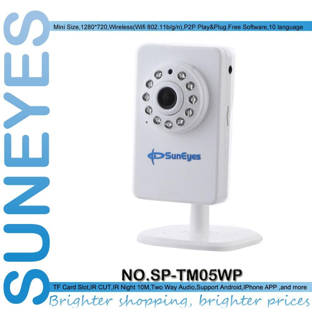 SunEyes SP-TM05WP 1280*720P 1.0 Megapixel Wireless Mini IP Camera HD Support tf/micro sd card slot and P2P Plug Play(China (Mainland))