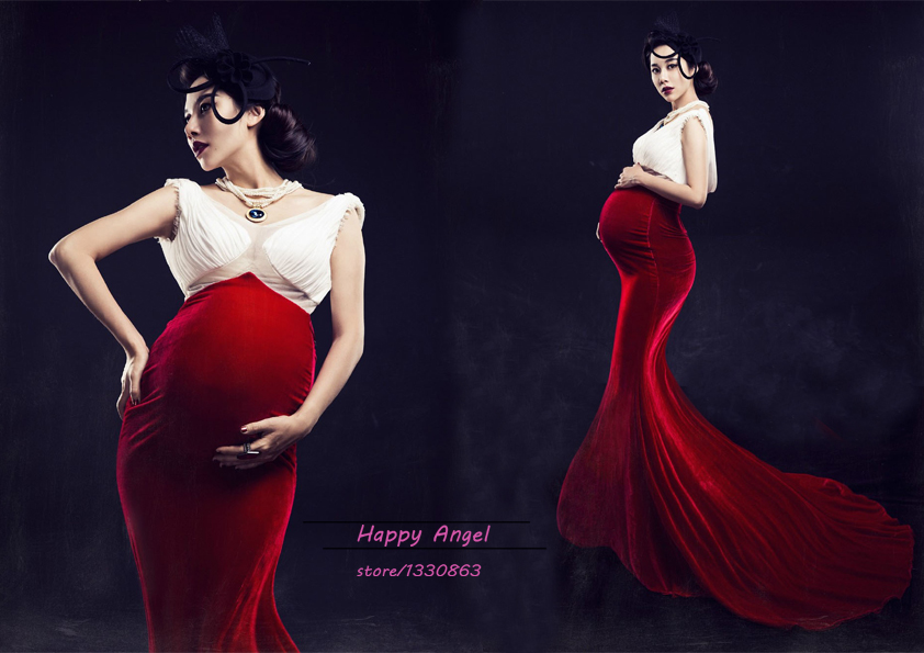 Authentic Royal Maternity Photography Props Pregnant Women Noble Long Hem Trailing Mermaid sexy Dress Photo Shoot Fancy costume