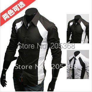 HOT Selling Men's Shirts Slim Sexy Stylish Color Patched Casual Shirts 2 Colors  M~XL