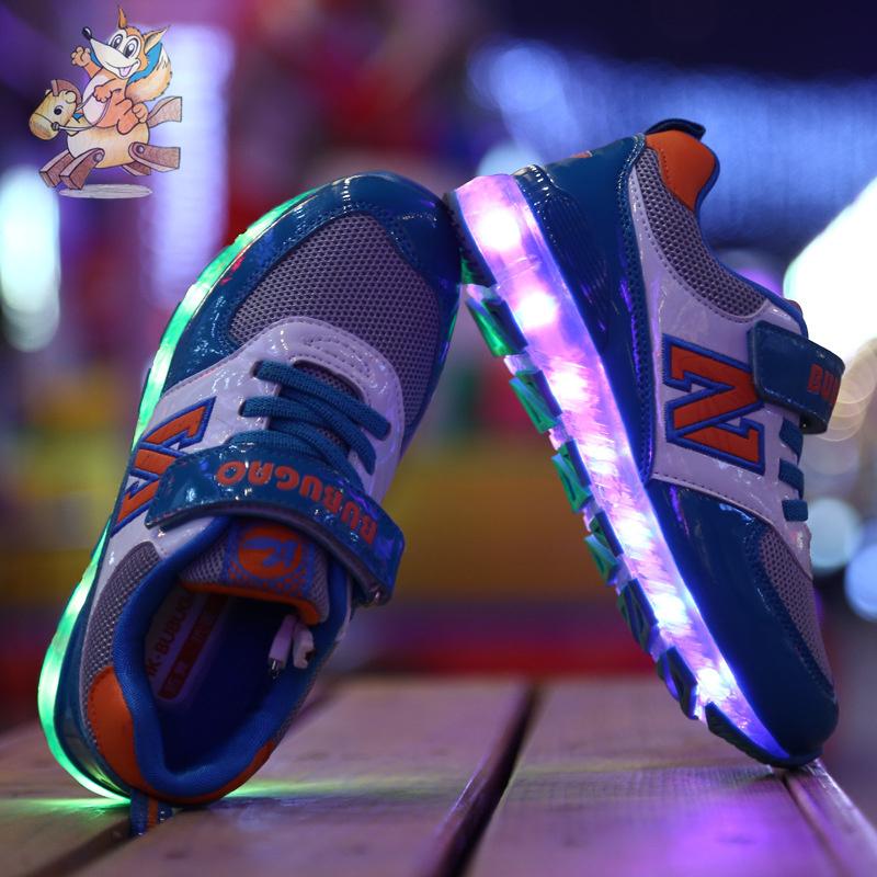 2016 Kids Shoes Children With Light Chaussure Lumineuse Enfant Boys Tenis Infantil Sneakers Basket Led Enfant Breathable 010