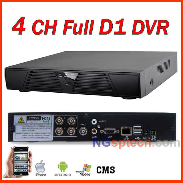 Free shipping! 2013 Newest, 4CH Full D1 DVR, H.264, Plug and play, Remote View via Internet free setting, Motion detector