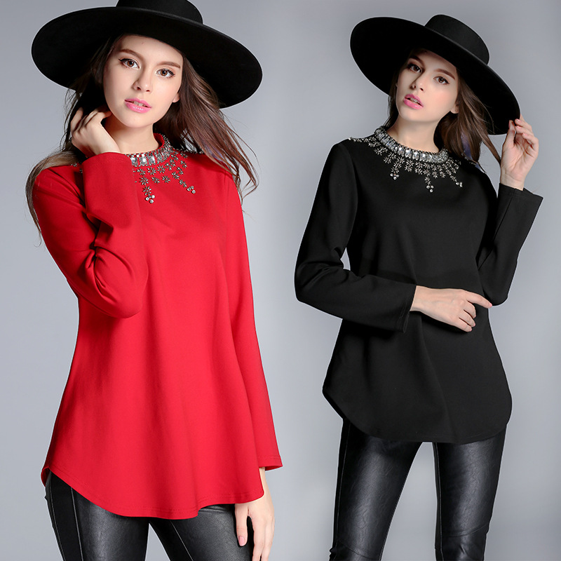 2015 autumn big size women new long sleeve blouse shirt for Large shirt neck size