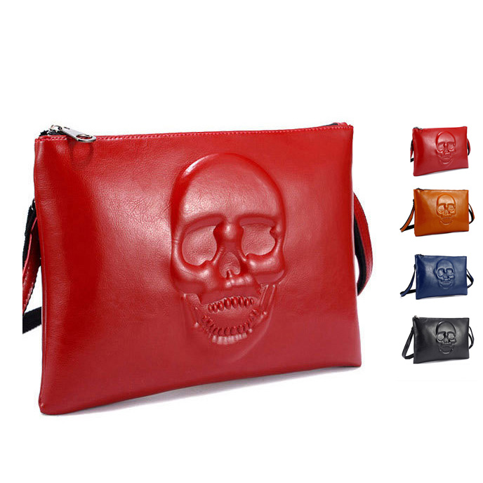 2015 Womens Top Quality Fashion Synthetic Leather Skull Relief Handbag Clutch Purse BAG NV11 Free Shipping(China (Mainland))