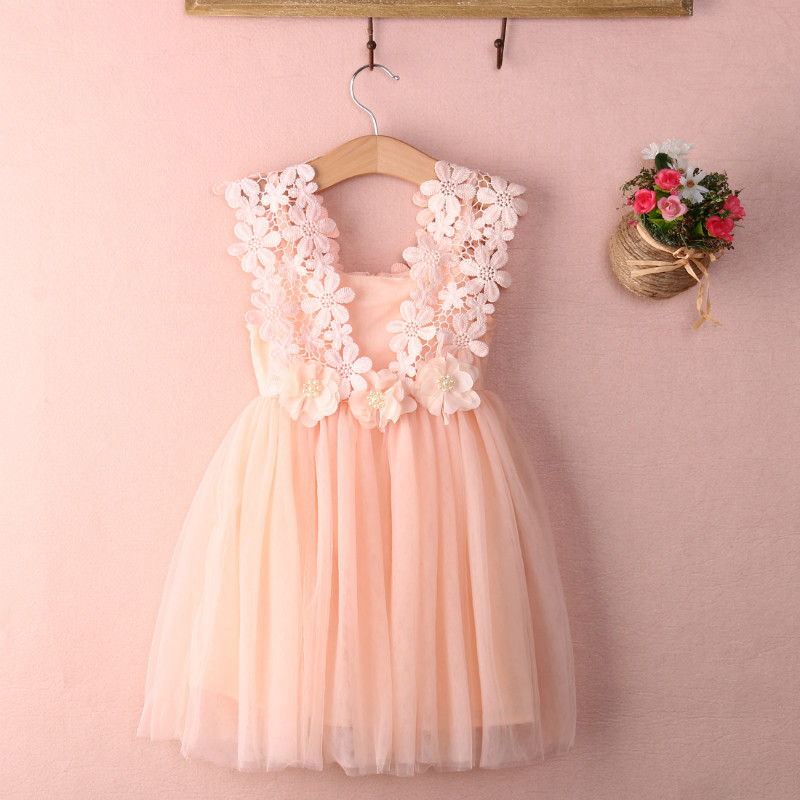 2016 XMAS Baby Girl Princess Party Pearl Lace Tulle Flower Gown Fancy Dress Sundress Girls Tutu Dress(China (Mainland))