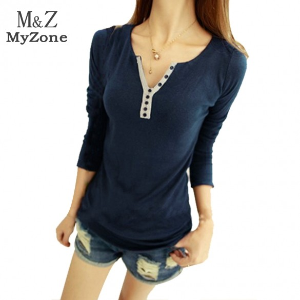 Hot Selling 2015 Fashion t-shirt women long sleeve Bottoming Shirt Top Girls Casual V-Neck shirt B003 38(China (Mainland))