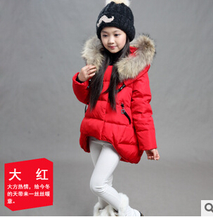 New Hot 2015 Brand Casual Children Parka Girls Winter Coat Long Duck Down Thick Faux Fur Hooded Winter Jacket For Girls